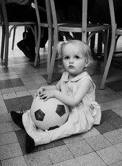 FIFA World Cup (alibaba0) Tags: portrait blackandwhite bw baby girl topv111 ball blackwhite football noiretblanc fifa weltmeisterschaft wm nb worldcup fusball deuxcestmieux
