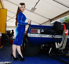 Holly_9673 (Fast an' Bulbous) Tags: promodified plymouth cuda fast speed power drag race strip track pits racecar motorsport girl woman model pinup chick babe hot sexy hotty blue velvet dress wiggle high heels shoes stilettos stockings santa pod eurofinals doorslammer long brunette hair legs