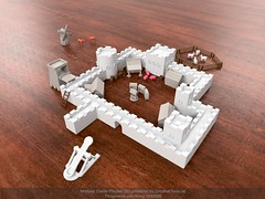 Modular Castle Playset (3D-printable) - Main image v01 (Creative Tools) Tags: castle castles toy playset toys wall toykit tower towers house miniatures medieval cow pig horse goat sheep windmill siegetower catapult well barrel box ladder fence animals assembly joint butterflyjoint fort children childrenstoys fortress block blocktoys desktoptoys desktoptoy desktop