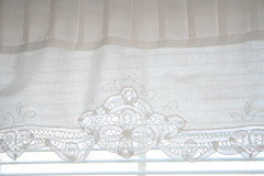 White Lace Curtain (sunshinesyrie) Tags: white home window lace curtain tjmaxx bedroomwindow whitecurtain whitewindow whitelace pintuck whitefabric dustruffle whitehome whiteinteriors