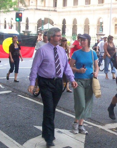 Senator Andrew Bartlett of the Australian Democrats marching in the Invasion Day march, George St, Brisbane, Queensland, Australia 070126