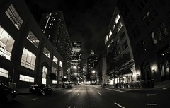 A moment in San Francisco #188-Financial district at night (Oscardaman) Tags: sanfrancisco blackandwhite fisheye 16mmfisheye