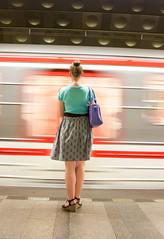 anka metro picture (Jan Malkovsky) Tags: travel sexy female bag waiting publictransportation prague legs metro tram skirt motionblur impatient slowshutter tunel departure undeground hairbun barelegs