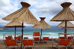 Out of office (Csaba_Bajko) Tags: sea summer sun water island mare chairs croatia nopeople parasol tenger adriatic baska krk holidayseason outofoffice colorimage
