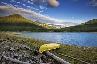 Lonely Canoe at Peter Lougheed provincial park