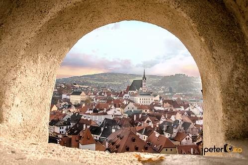 View of the town of Cesky Krumlov from the Cesky Krumlov Castle