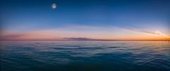 Winter Seascape (The freedom state of Jabamba) Tags: mare sea italia italy nikon nikkor d750 2485mm jesolo seaside panorama pano panoramic moon luna brightmoon sunset tramonto dusk imbrunire colorful colors clouds cloudy porncloud nikonitalia veneto visitveneto adriatico landscape seascape landscapephotography