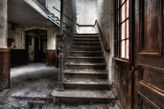 Watch your stepsAt the abandoned State Mental Hospital somewhere in New England. (AJ Photographic Art) Tags: urbex urbanexploration decay abandoned hdr hole stairs steps eerie spooky color statementalhospital new england