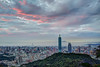 Fog and Red Clouds 紅雲茜霧籠金闕 (Sharleen Chao) Tags: taipei101 skyline landscape skyscraper 台北101 台灣 風景 拇指山 cityscape city canon canoneos5dmarkiii building 101 urban outdoor horizontal nopeople taiwan taipei capitalcity highangle color tone 象山隧道 觀音山 sunset day hdr cloudy rays 霞光 夕陽 夜景 四獸山步道 fog 平流霧