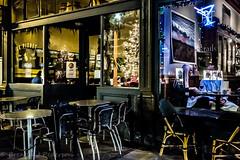 Le Pichet & Virginia Inn (Culinary Fool) Tags: chair december neon 23mm belltown refelction restaurant table 2016 seattle wa culinaryfool dark window night washington brendajpederson pikeplacemarket holiday downtown