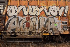 VOY AQUA (TheGraffitiHunters) Tags: aqua graffiti graff spray paint street art colorful freight train tracks benching benched boxcar rust voy floater