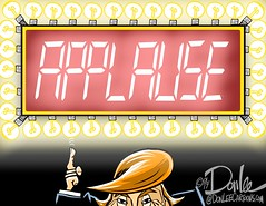 0117 applause cartoon (DSL art and photos) Tags: editorialcartoon donlee donaldtrump applause narcissism press presser president