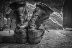 Day 17/365 2017 Edition (B&W Week)- Husband's Military Boots on Hearth (Angela D Beck) Tags: boots military 365 2017 edition 3652017 day 17365 17jan17 hearth