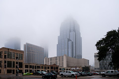 Foggy Morning in the ATX (-Dons) Tags: austin texas unitedstates tx usa fog frosttower skyline downtown car