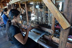30098741 (wolfgangkaehler) Tags: asia asian southeastasia myanmar burma burmese inlelake villagelife lake innpawkhonevillage woman workshop people worker working weaver weaving weavingloom weavinglooms weavingcloth loom looms