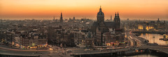 Panoramic Amsterdam (urbanexpl0rer) Tags: amsterdam noordholland nederland skyline cityscape city historicalcity highangleview panorama longexposure buildings evening sunset traffic rushhour