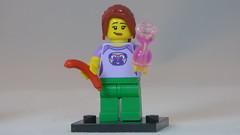 Happy Pug Girl with Sausage & Hourglass Brick Yourself Custom Lego Figure