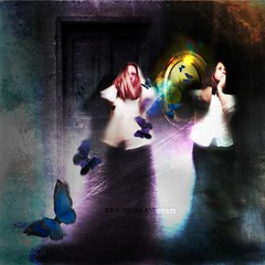 The Beating of the Butterfly's Wings (Silvia Andreasi (Images Beyond Mirror)) Tags: woman selfportrait abstract texture photomanipulation butterfly dark mirror whimsy surrealism digitalart surreal fantasy forgotten squareformat ethereal impressionism imagination mystical mystic whimsical dreamscape storytelling fineartphotography whimsicalphotography imagesbeyondmirror silviaandreasi caostheory