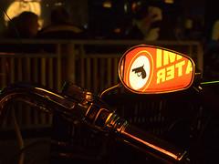 some pressure for a Harley... (Soenke HH) Tags: light red reflection colors festival night fence fun mirror licht theater fotografie angle theatre nacht bokeh olympus motorbike crime harleydavidson winkel reeperbahn reflektion motorrad krimi rückspiegel lenker edgarwallace pistole harleydays imperialtheater pistoll olympusstylus1 stylus1