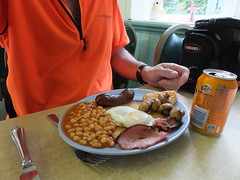 Deserved (stevenbrandist) Tags: food orange breakfast cycling bacon beans cyclist ride egg eat fried fanta overnight dunwichdynamo