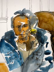 man bundled up in a big jacket. (Evelyn Bach) Tags: portrait man face sketch drawing diary sketchbook figure visualjournal penandwatercolour