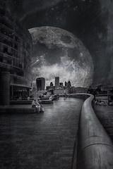 The line to the Moon (radonracer) Tags: city moon monochrome mond surreal fantasy digiart leadinglines