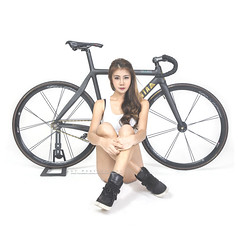 B&B (Alphone Tea) Tags: life lighting light portrait white beautiful bicycle lady pose studio print amazing model eyes asia pretty slim bright modeling body great models chinese young indoor setup staring 6d 2015 2470 ef2470mmf28liiusm