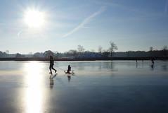 Winter joy! (brittajohansson) Tags: outdoor landscape winter ice skating sky lake sun sunrise iceskating winterjoy snow hoarfrost frost chilly play children sleigh joy