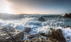 On the ledge at sunset (stewartbaird) Tags: summer beach landscape sunset nature water surf titahibay sea newzealand drama