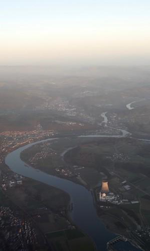 River Rhine with Waldshut & KKW Leibstadt Nuclear Power Plant Switzerland / Germany