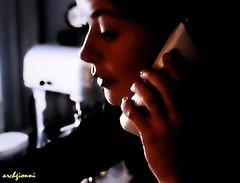 telephone (archgionni) Tags: telefono telephone donna woman signora lady buio dark luce light ombre shadows ritratto portrait profilo profile viso face labbra lips mano hand dita fingers