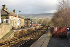 Littleborough station (Halliwell_Michael ## Thanks you for your visits #) Tags: littleborough lancashire hollingworthlake nikond40x 2017 winter pennineviews railwaystation railway hills penninehills perspective trees station