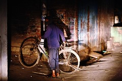 You ain't going nowhere ! (N A Y E E M) Tags: securityguard bicycle candid portrait latenight lastnight street lovelane chittagong bangladesh headlamps windshield