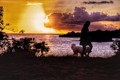 Walking the dog in winter, Grenadian style..... (MBartlettPhotography) Tags: sunset hdrsunset