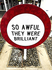 So Awful They Were Brilliant (Steve Taylor (Photography)) Tags: markcatley signothetimes soawfultheywerebrilliant art digital sign shop black brown red white fun strange stone pebble newzealand nz southisland canterbury christchurch city cbd texture