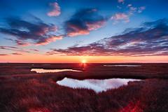 Flaring (DJawZ) Tags: winter sunset marsh grass chilled cold nj hdr fuji fujifilm xt1 sky clouds water atlantic east coast