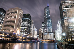 Chicago River (Mark Wingfield) Tags: river walk chicago trump michigan avenue magnificent mile illinois water outdoors outside skyline reflection nikon d750 dark light lowlight long lights low landscape sky city clouds cityscape tripod tower