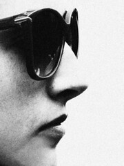 Jennifer (d_t_vos) Tags: portrait blackandwhite bw woman abstract netherlands girl monochrome face sunglasses silhouette contrast mouth nose zwartwit grain denhaag lips nb teen teenager sw schwarzweiss thehague youngwoman chin noireetblanc kortepoten dickvos dtvos