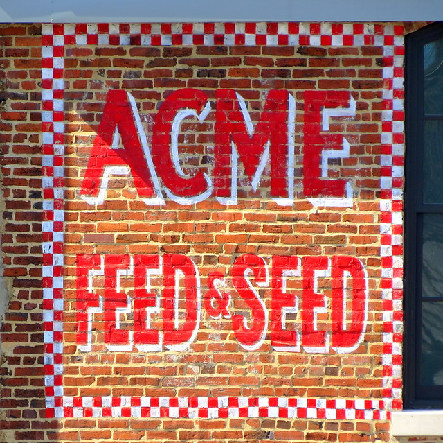 Acme Feed & Seed hand painted sign