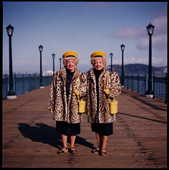 The Brown Twins 91111902 (jimhairphoto) Tags: sanfrancisco color film america fuji streetlife 120film hasselblad negative embarcadero 1991 théâtrederue reala 120mm streetstories browntwins jimhairphoto