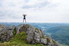 Mountain Winning (Magh) Tags: mountain snow man nature norway person norge jump jumping alone tour dale natur hills tur lone mann stein utsikt fjell sn fjelltopp mountaintop noreg hopp lonefigure sunnfjord fjaler daleisunnfjord utmark heileberget dalsnipa