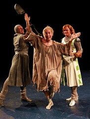 """Mika Duncan (L) as Sir Lancelot, Steven Strafford as Not Dead Fred and John Scherer as Sir Robin in the 2010 MC premiere of the Tony Award-winning Best Musical """"Monty Python's Spamalot"""" at the Wells Fargo Pavilion, July 9-18.  Photo by Charr Crail."""
