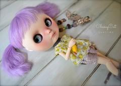 Posy and Her Wubba (Chassy Cat) Tags: chicken hair hug purple lavender fantasy blythe lh custom moshi takara wubba moshimoshi brainworm chassycat lavenderhug