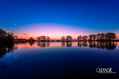 Tranquil lake (dave_z_photography) Tags: longexposure trees sunset moon lake reflection pool night canon evening pond bradford yorkshire smooth tranquility tranquil evenin