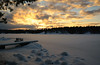 So Cold (Lindaw9) Tags: shanty bay sunset snow frozenover december dock bench sky rocks