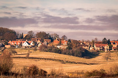 On the hill (WaterBugsPics) Tags: village hillside tree field rural bluesky partly cloudy houses