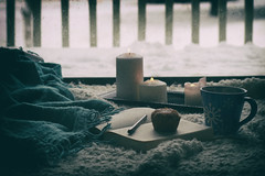 Winter Days (miss.interpretations) Tags: winter nostalgia snow snowflakes chill cold snowdays coffee cocoa cup mug beverage hotdrink journal book writing pen blanket throwblanket floor candles light cozy warmth december decemberblues chilly canonm3 castlerock colorado co