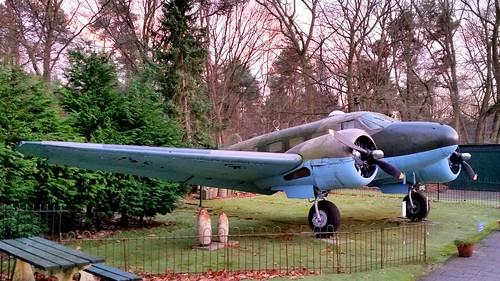 Beechcraft Model D18S c/n A-105 registration PH-UBX preserved at a museum in Schaarsbergen, The Netherlands