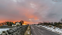 Sunrise in GT Hucklow (mido2k2) Tags: winter color colour sunrise countryside season beautiful flickr explore rural nikon d5300 sigma stunning outdoor tree nature country road lane snow cold colourful stone wall drystone perspective travel 150500mm sky clouds god glorious daily bbcwinterwatch winterwatch bbc countryfile peak district derbyshire yorkshire