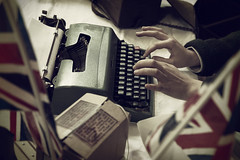 Step back in time (V Photography and Art) Tags: 1940s typewriter gasmask unionjack vintage old retro ww2 hands typing